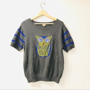 Cremieux large OWL graphic gray sweater